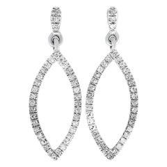 LB Exclusive White Gold .10 Carat VS1 G Color Diamond Marquise Dangle Earrings