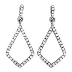 LB Exclusive White Gold .10 Carat VS1 G Color Diamond Pave Dangle Earrings