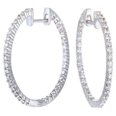 LB Exclusive White Gold 1.00 Carat VS1 G Color Diamond Pave Hoop Earrings