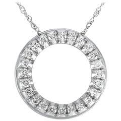 LB Exclusive White Gold .50 Carat VS1 G Color Diamond Pave Pendant Necklace