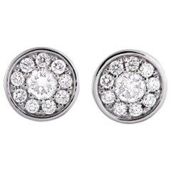 LB Exclusive White Gold .50 Carat VS1 G Color Diamond Pave Stud Earrings