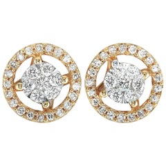 LB Exclusive Yellow Gold 0.25 Carat VS1 G Color Diamond Pave Stud Earrings
