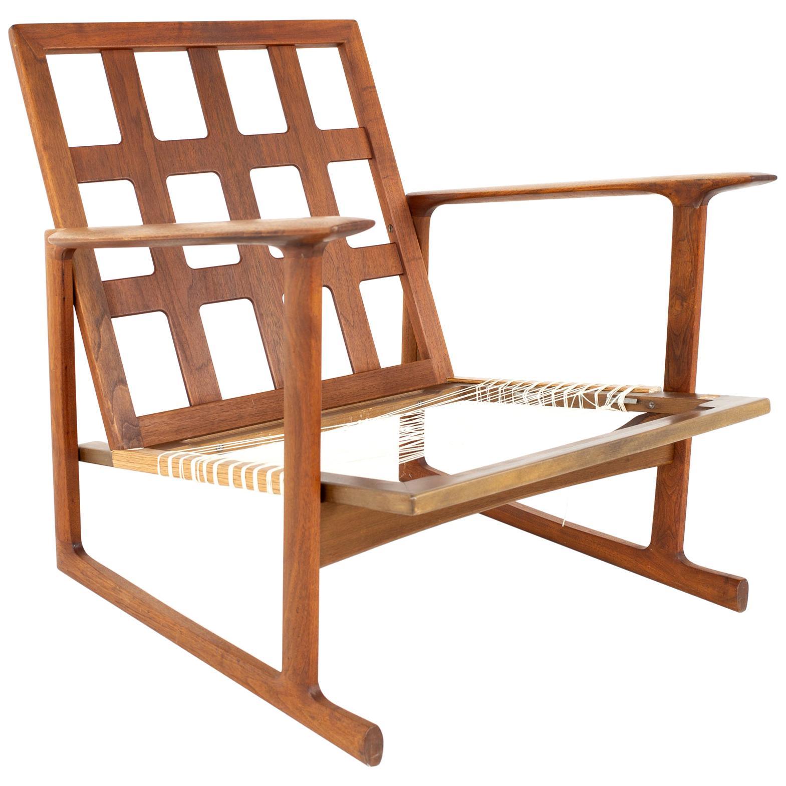 lb Kofod Larsen for Selig Mid Century Lattice Back Teak Sleigh Leg Lounge Chair