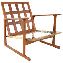 lb Kofod Larsen for Selig Mid Century Lattice Back Teak Sleigh Leg Lounge Chair
