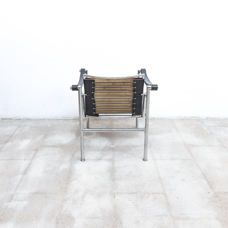 Mid-Century Modern LC-1 Chair by Le Corbusier Black Leather, 1950s For Sale