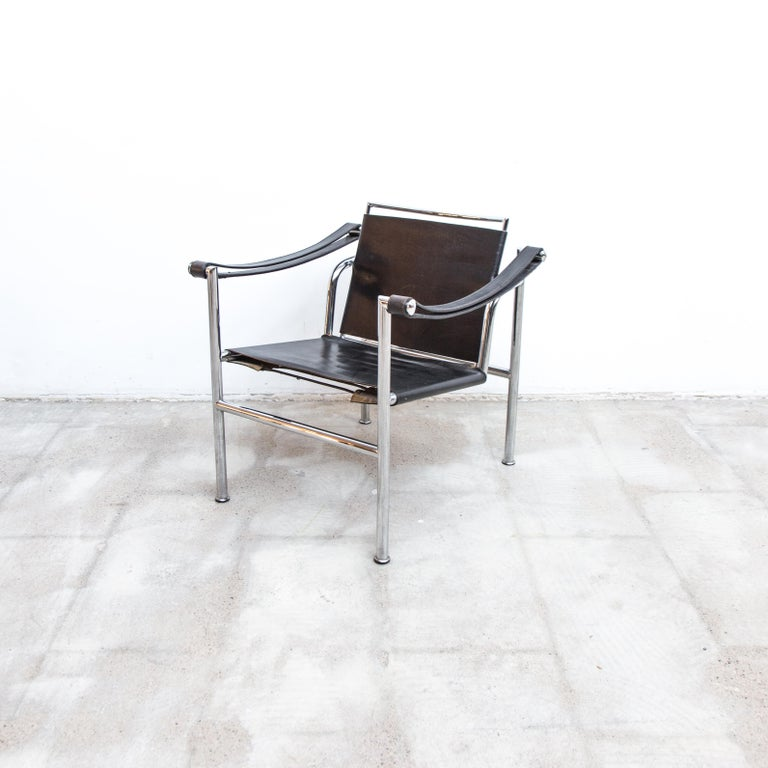Italian LC-1 Chair by Le Corbusier Black Leather, 1950s For Sale
