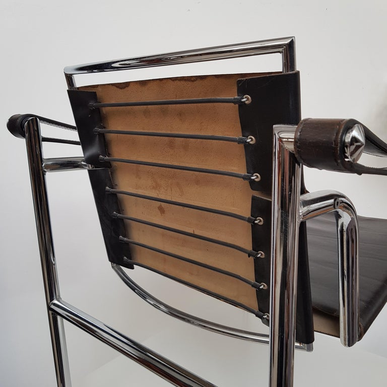 Plated LC-1 Chair by Le Corbusier Black Leather, 1950s For Sale