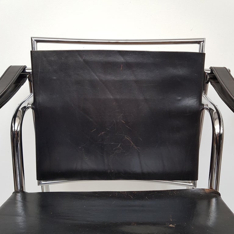 20th Century LC-1 Chair by Le Corbusier Black Leather, 1950s For Sale