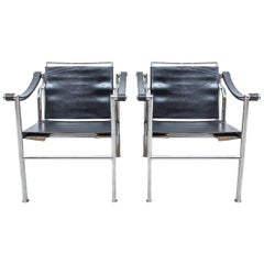 LC-1 Chair by Le Corbusier Black Leather, 1950s