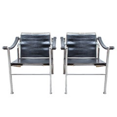 LC-1 Chair by Le Corbusier Black Leather