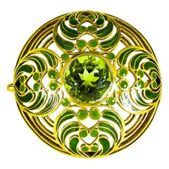 L.C. Tiffany & Co. Enamel and Tourmaline Large Brooch, circa 1900