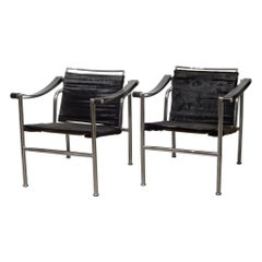 LC1 Le Corbusier Basculant Style Pony Hide Sling Chairs, circa 1980