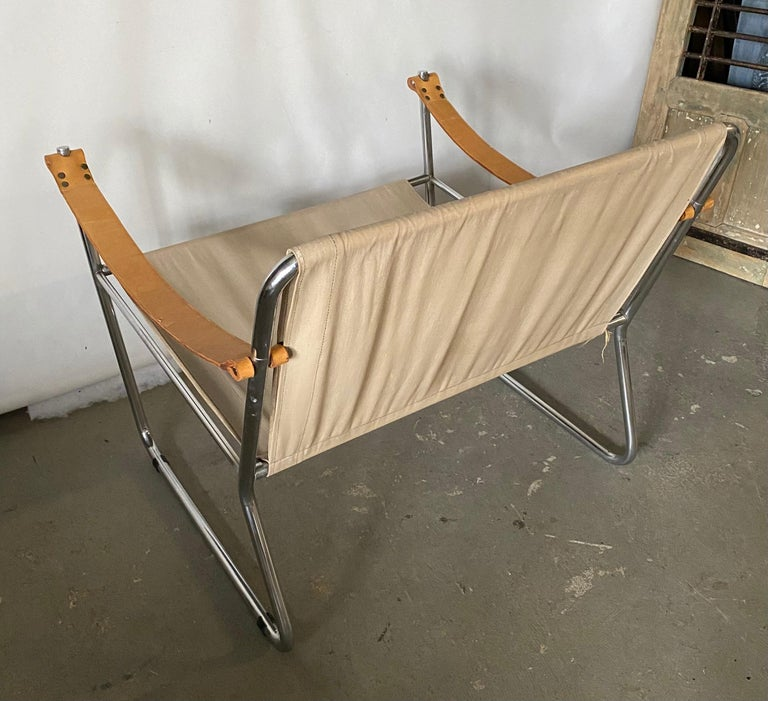 20th Century LC1 Style Canvas Sling Lounge Chair For Sale