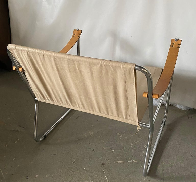 Leather LC1 Style Canvas Sling Lounge Chair For Sale