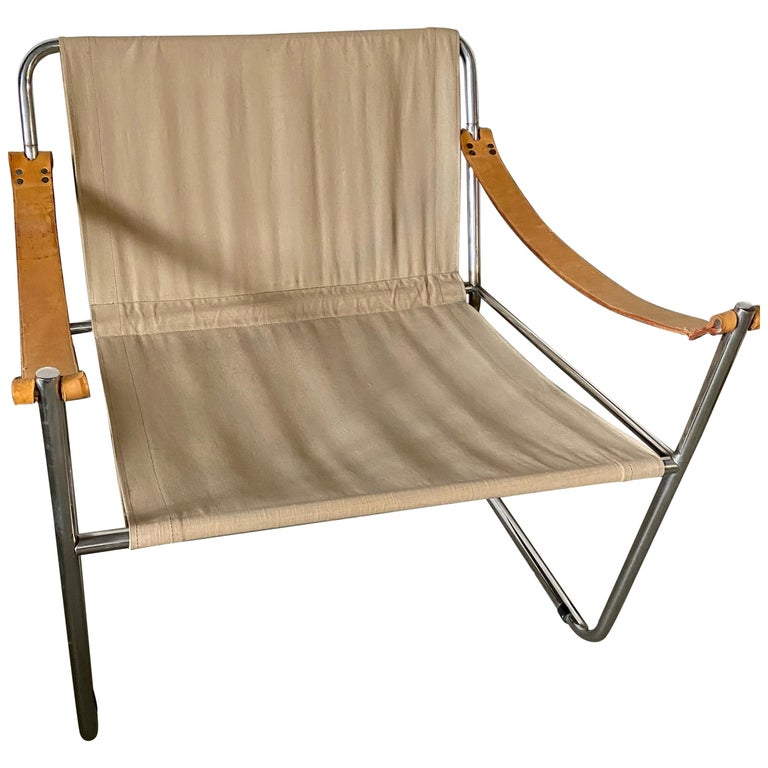 LC1 Style Canvas Sling Lounge Chair For Sale