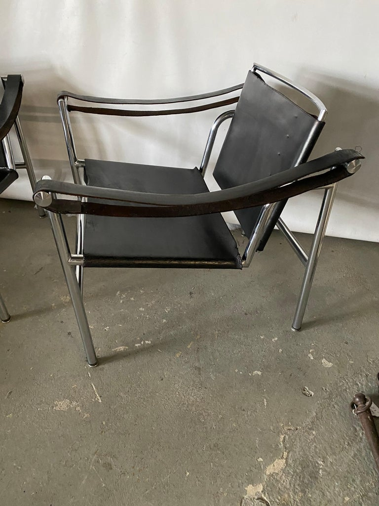 LC1 Style Leather Lounge Chairs, Pair In Good Condition For Sale In Great Barrington, MA