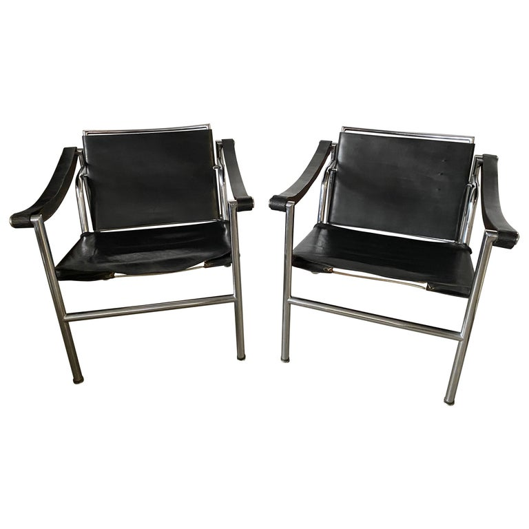 LC1 Style Leather Lounge Chairs, Pair For Sale