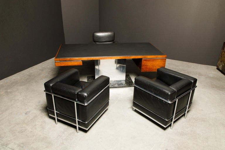 'LC2' Black Leather and Chrome Club Chair by Le Corbusier for Cassina, Signed For Sale 11