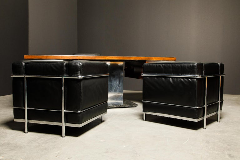 'LC2' Black Leather and Chrome Club Chair by Le Corbusier for Cassina, Signed For Sale 13