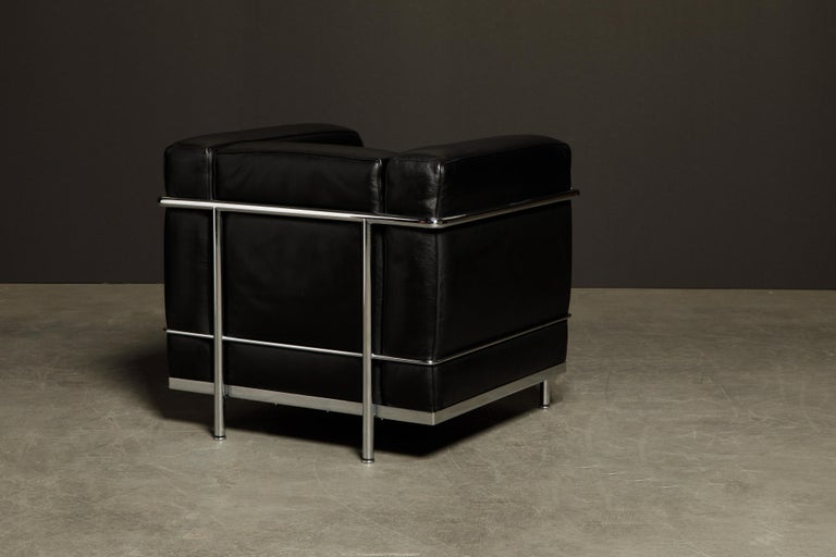 Contemporary 'LC2' Black Leather and Chrome Club Chair by Le Corbusier for Cassina, Signed For Sale