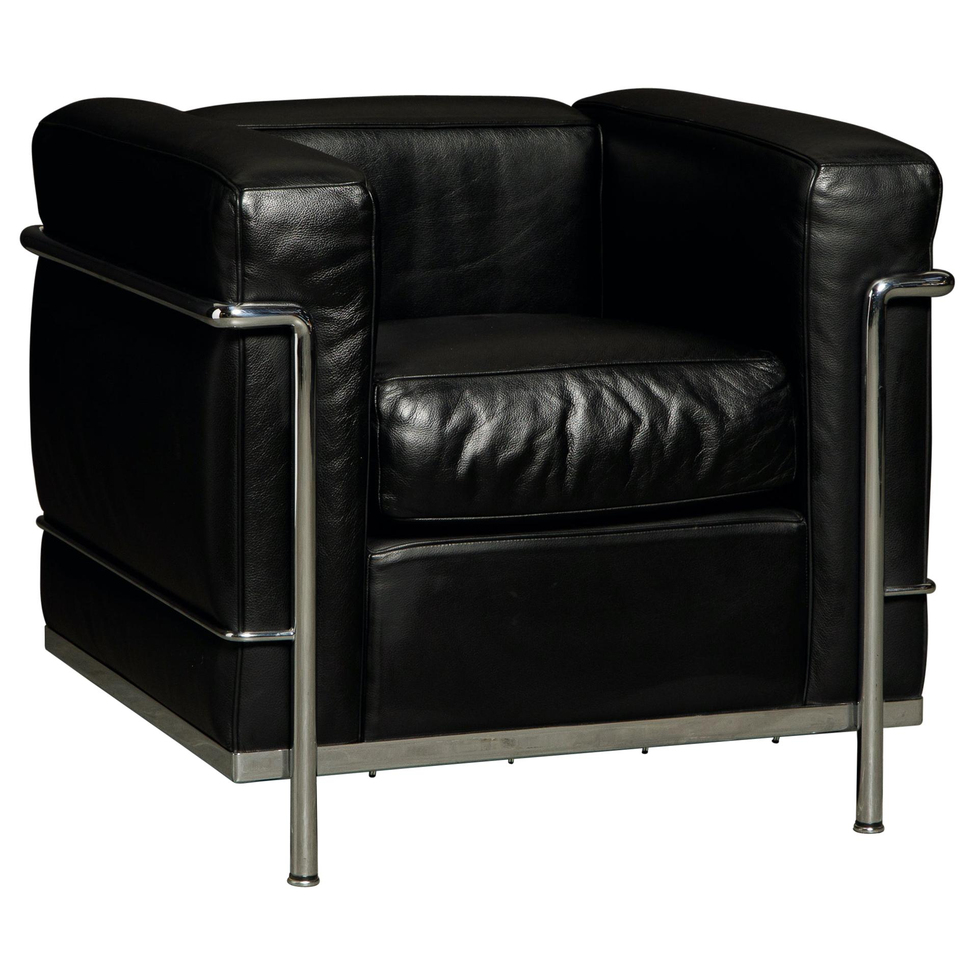 'LC2' Black Leather and Chrome Club Chair by Le Corbusier for Cassina, Signed
