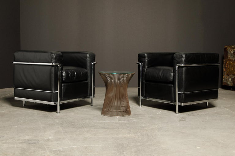 'LC2' Black Leather Club Chairs by Le Corbusier for Cassina, Signed 7