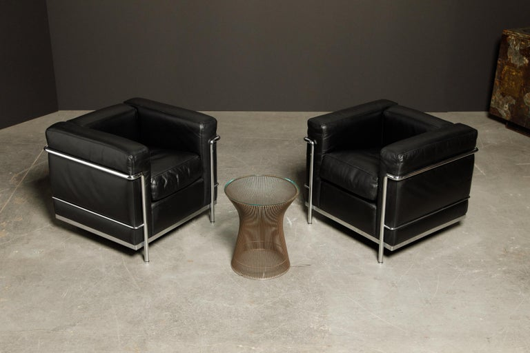'LC2' Black Leather Club Chairs by Le Corbusier for Cassina, Signed 8