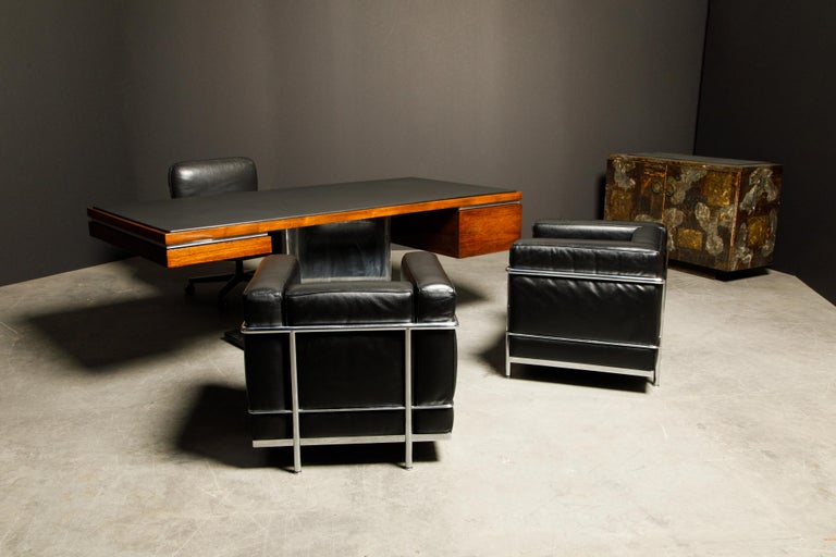 'LC2' Black Leather Club Chairs by Le Corbusier for Cassina, Signed 10