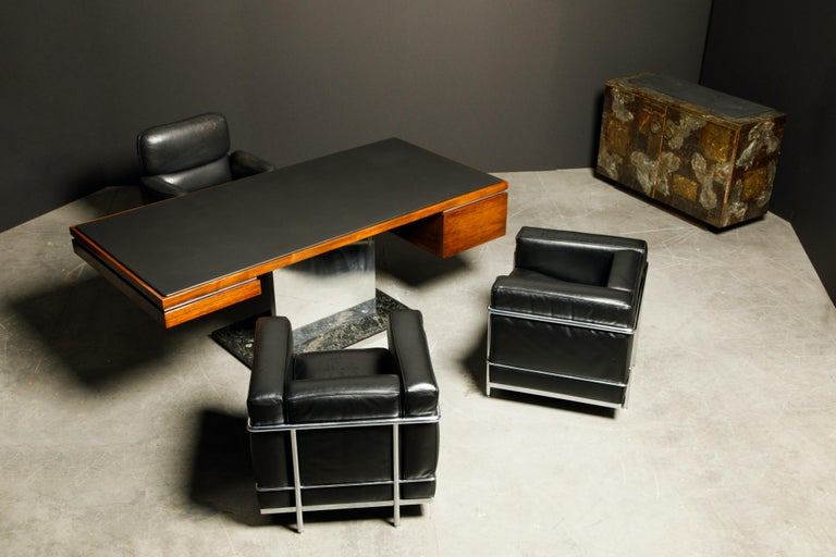 'LC2' Black Leather Club Chairs by Le Corbusier for Cassina, Signed 12
