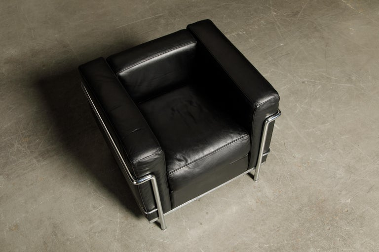 'LC2' Black Leather Club Chairs by Le Corbusier for Cassina, Signed 14