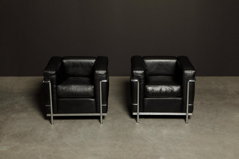 Bauhaus 'LC2' Black Leather Club Chairs by Le Corbusier for Cassina, Signed
