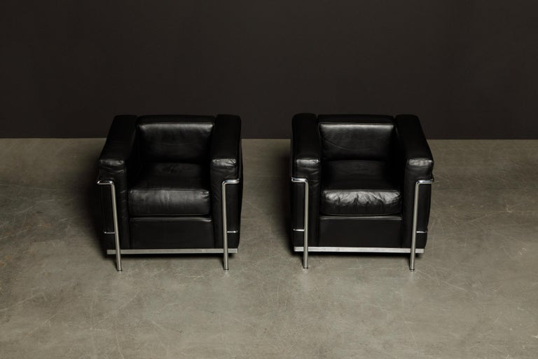 Italian 'LC2' Black Leather Club Chairs by Le Corbusier for Cassina, Signed