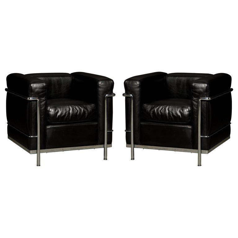 'LC2' Black Leather Club Chairs by Le Corbusier for Cassina, Signed