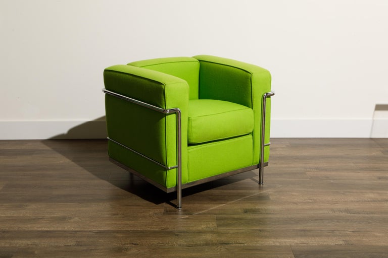 Italian 'LC2' Club Chair by Le Corbusier and Pierre Jeanneret for Cassina, Signed For Sale