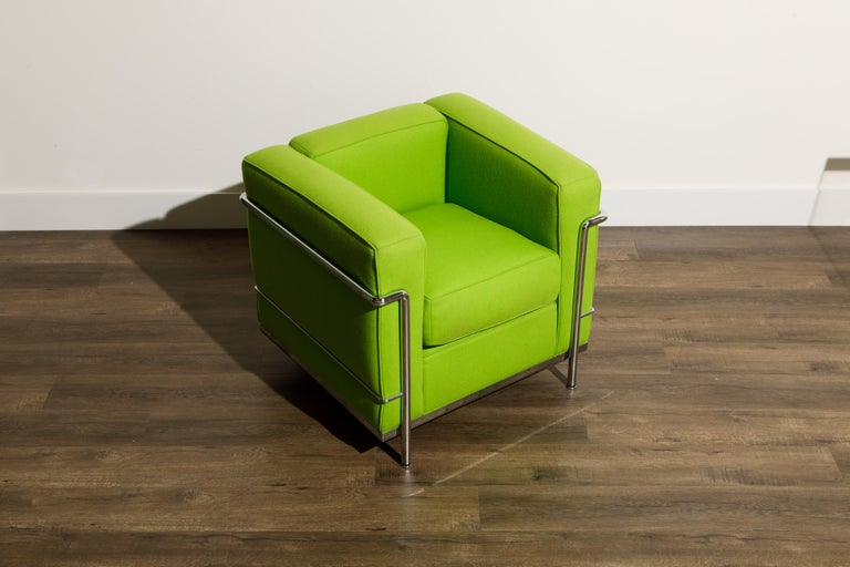 'LC2' Club Chair by Le Corbusier and Pierre Jeanneret for Cassina, Signed In Good Condition For Sale In Los Angeles, CA