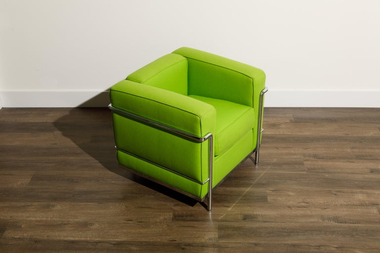 Chrome 'LC2' Club Chair by Le Corbusier and Pierre Jeanneret for Cassina, Signed For Sale