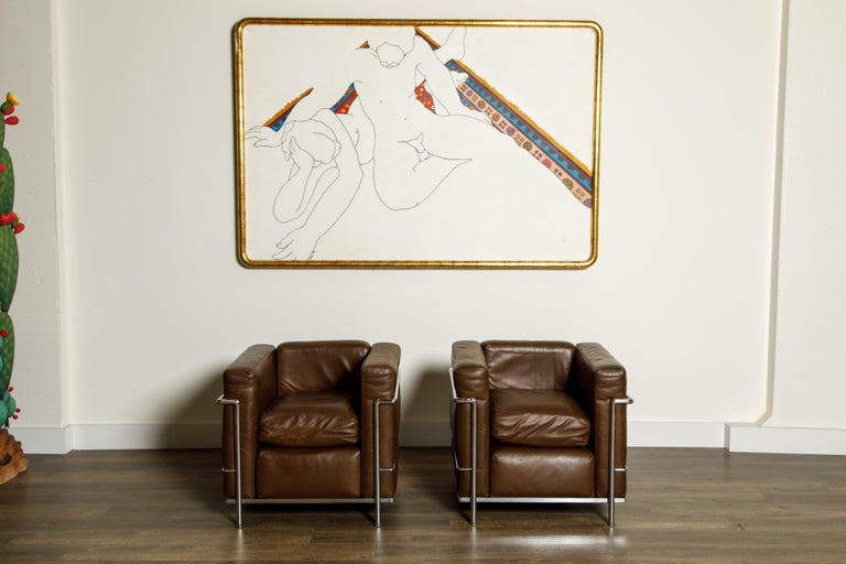Italian 'LC2' Club Chairs by Le Corbusier for Cassina, Early Year Productions, Signed For Sale