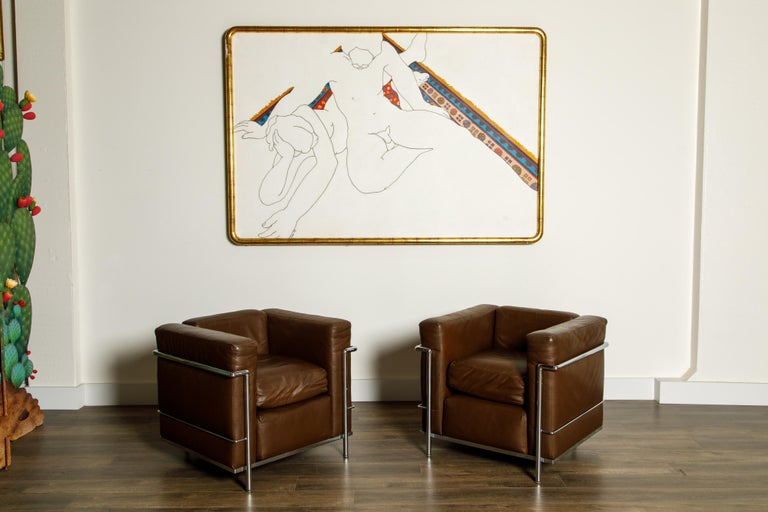 'LC2' Club Chairs by Le Corbusier for Cassina, Early Year Productions, Signed In Good Condition For Sale In Los Angeles, CA