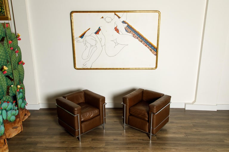 Mid-20th Century 'LC2' Club Chairs by Le Corbusier for Cassina, Early Year Productions, Signed For Sale