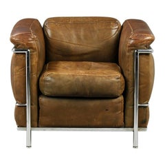 LC2 Le Corbusier Black/ Brown Leather and Steel 'NR 044' Made by Cassina