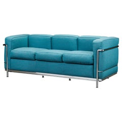 'LC2' Three-Seat Sofa by Le Corbusier, Jeanneret & Perriand for Cassina, Signed