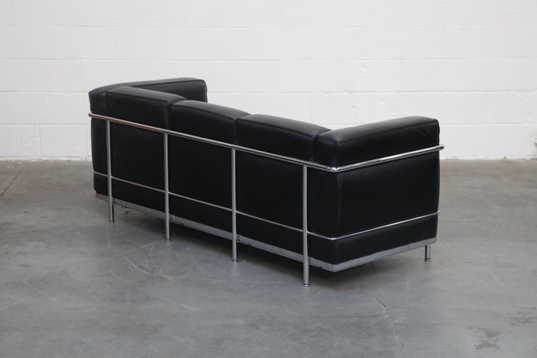 Contemporary 'LC2' Three-Seat Sofa in Black Leather by Le Corbusier for Cassina, Signed