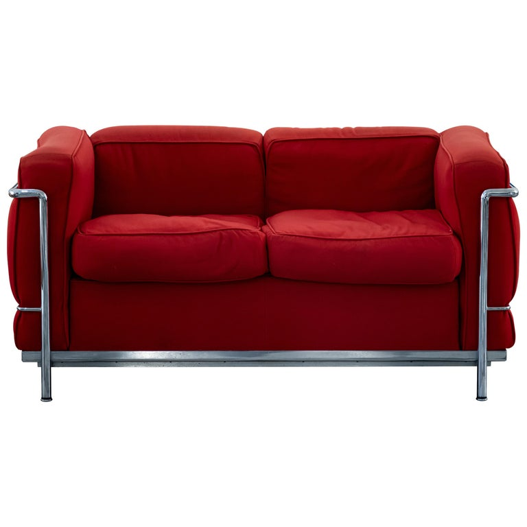 LC2 Two Seats Sofa by Le Corbusier for Cassina, Italy, 1970s For Sale