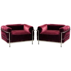 'LC3' Grand Modèle Club Chairs in Mohair by Le Corbusier for Cassina, Signed