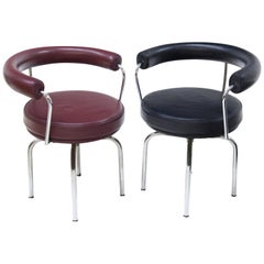LC7 Swivel Chairs by Cassina, Tubular Steel, 1970s