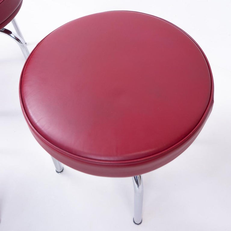"""Vintage Red LC8 Stools by Charlotte Perriand for Cassina, 1980s  Even though this stool is part of the """"LC"""" collection in production by Cassina, the actual design of this piece was designed by Charlotte Perriand, together with the matching chair"""