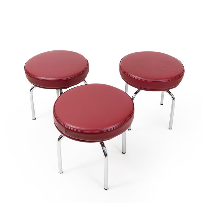 Modern Vintage Red Lc8 Stools by Charlotte Perriand for Cassina, 1980s For Sale