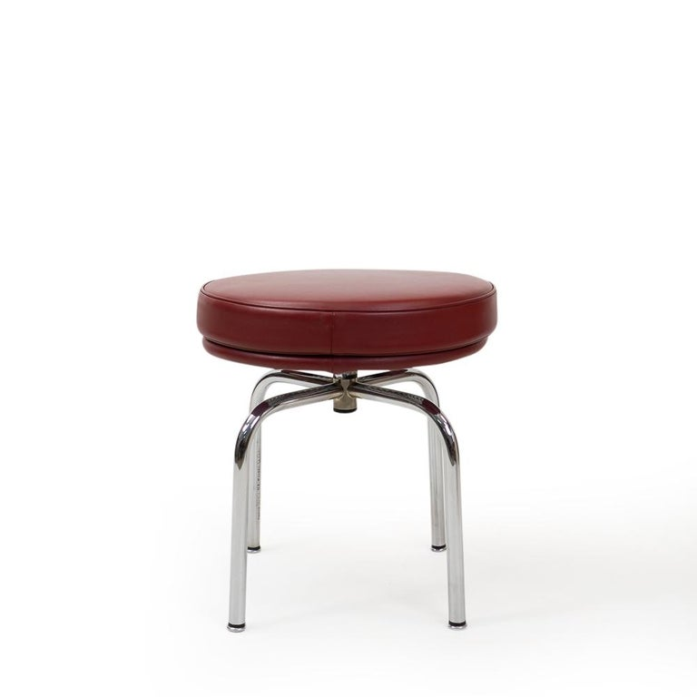 Vintage Red Lc8 Stools by Charlotte Perriand for Cassina, 1980s For Sale 2