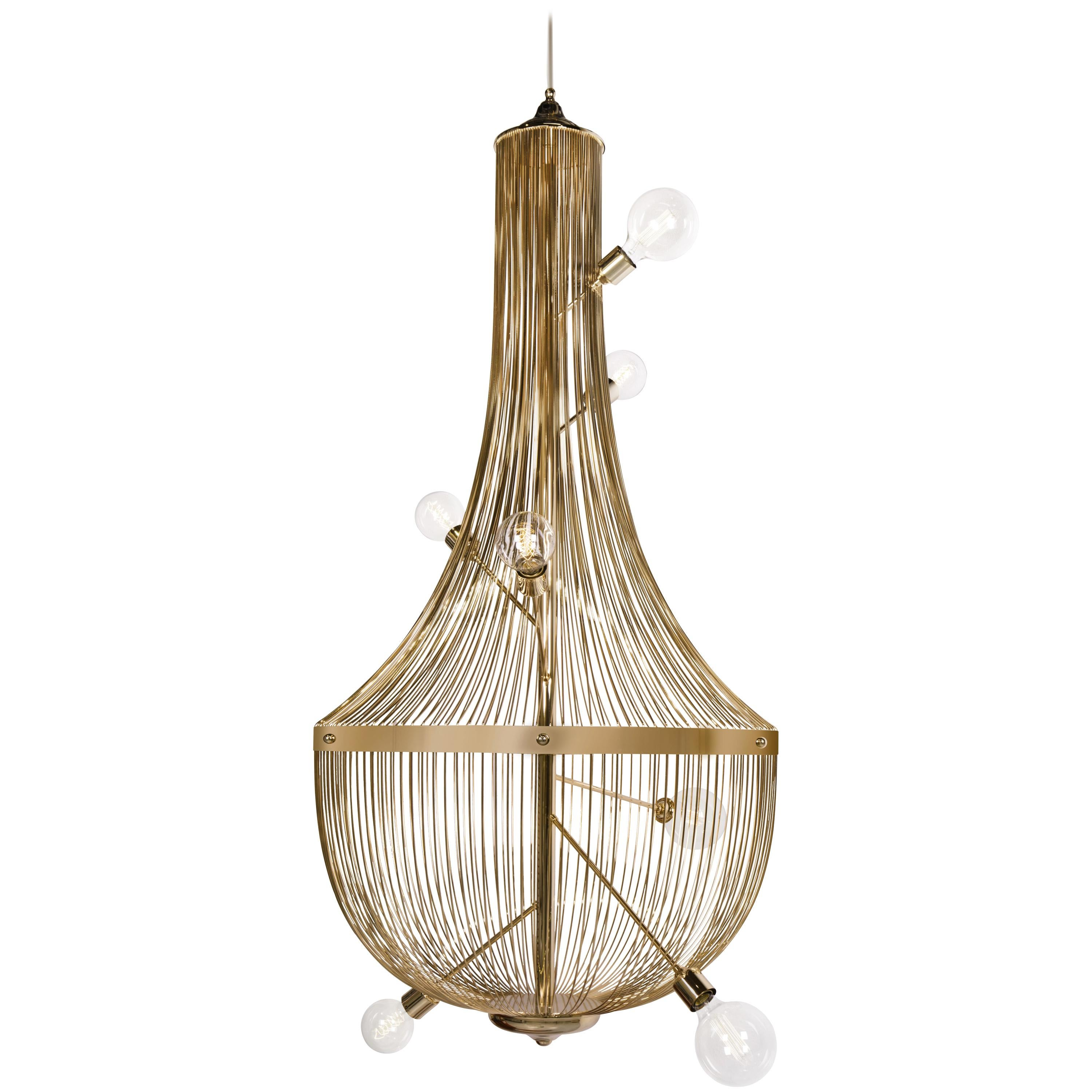 L' Chandelier Suspension Light in Gold-Plated Brass