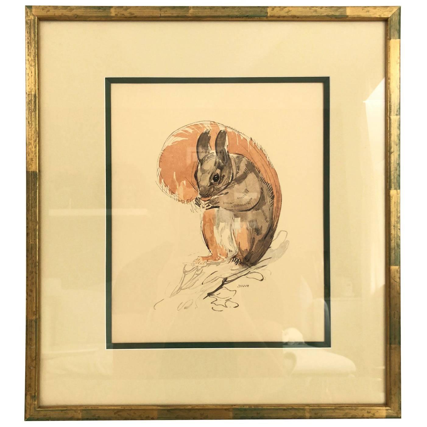 L'écureuil, Squirrel, Lithograph by Paul Jouve, France 1932